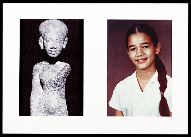 Miscegenated Family Album (Young Princesses), L: Nefertiti's daughter, Ankhesenpaaten; R: Devonia's daughter, Candace (1980/1994) Cibachrome prints; 26h x 37w in (66.04h x 93.98w cm); Edition of 8 with 1 AP