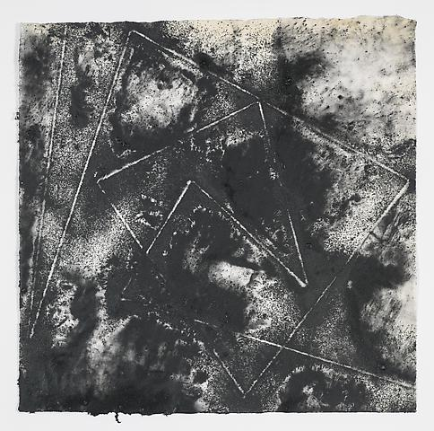 Jack Whitten, Target (In & Out) #5 (2011) Magnetite and acrylic on rice paper 17h x 17w in (43.18h x 43.18w cm)