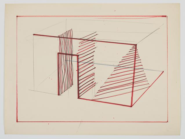 Study for barbed wire piece (1970) Ink on paper 18.13h x 24.13w in (46.1h x 61.3w cm)