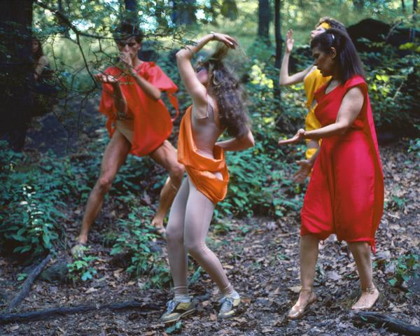 Rivers, First Draft: The Debauchees dance in place, and the Woman in Red catches up to them (1982/2015) Digital C-print from Kodachrome 35mm slides in 48 parts, 16h x 20w in (40.6h x 50.8w cm) Edition of 8 with 2 AP
