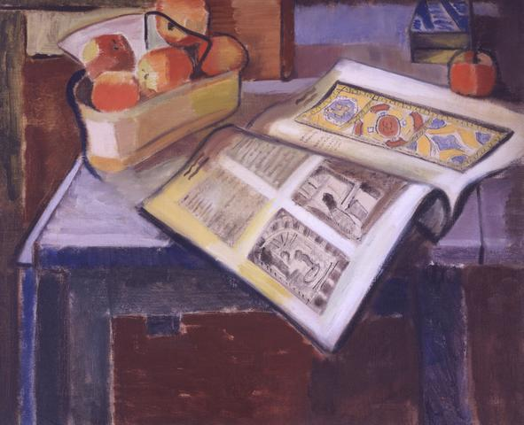 Untitled (Still Life with Peaches and Magazine) (1929) Oil on canvas 20.25h x 24.06w in (51.4h x 61.1w cm)