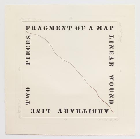 Luis Camnitzer, <i>Fragment of a Map</i> (1968) Etching 23.8h x 23.5w in (60.5h x 59.7w cm)
