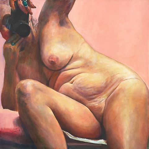 In the Pink (2004) Oil on canvas 44h x 44w in (111.76h x 111.76w cm)