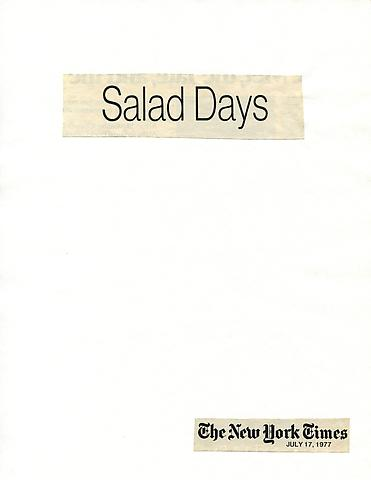 Cutting Out The New York Times, Salad Days (1977) Part 1 of 7, Toner ink on adhesive paper 11.02h x 7.87w in (27.99h x 19.99w cm)