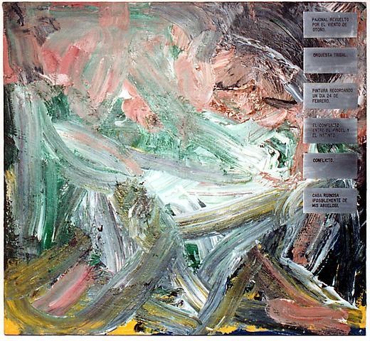 Pintura con Titulos (1973) Aluminum and acrylic on canvas 36h x 40w in (91.44h x 101.6w cm)