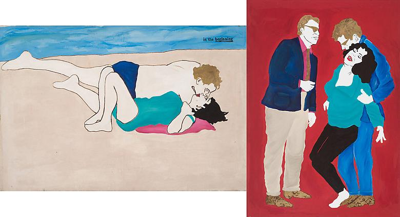 Romance/Restraint (Left: Paparazzi Shot, Right: Who's Afraid of Virginia Woolf?) (1983) Acrylic and mixed media on canvas   Diptych; 75h x 98w in (190.5h x 248.92w cm)
