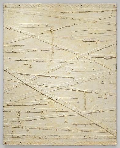 Harmony Hammond; Blanco (2012–2013) Oil and mixed media on canvas 90.5h x 73.5w in (229.87h x 186.69w cm)