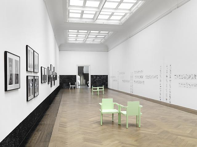 Strange Comfort (Afforded by the Profession), Kunsthalle Basel, 2010 Lorraine O'Grady (left and right), Nick Mauss (center), Latifa Echakhch (lower wall) Installation view