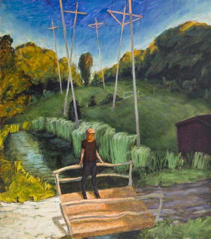 Telephone Poles (1991) Oil On Canvas 50h x 44w in (127h x 111.8w cm)