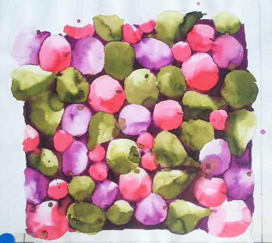 "Untitled, from the ""Fruits"" series (c. 1975) Watercolor on paper 10.75h x 11.63w in (27.3h x 29.5w cm)"