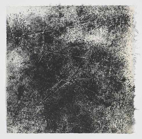 Jack Whitten, Target (In & Out) #12 (2011) Magnetite and acrylic on rice paper 8.5h x 8.38w in (21.59h x 21.29w cm)