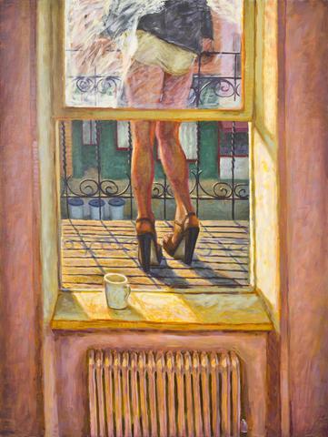 Morning Terrace (1992) Oil On Canvas 72h x 54w in (182.9h x 137.2w cm)