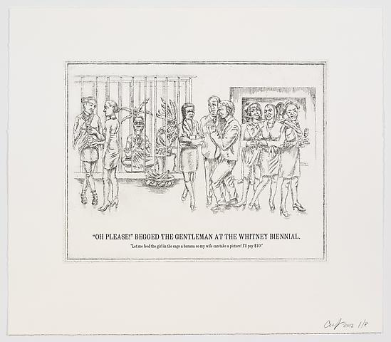 "The Undiscovered Amerindians; ""Oh Please!"" Begged the Gentleman at the Whitney Biennial (2012) Intaglio, engraving, and drypoint etching on paper 21h x 18.3w in (53.34h x 46.48w cm)"