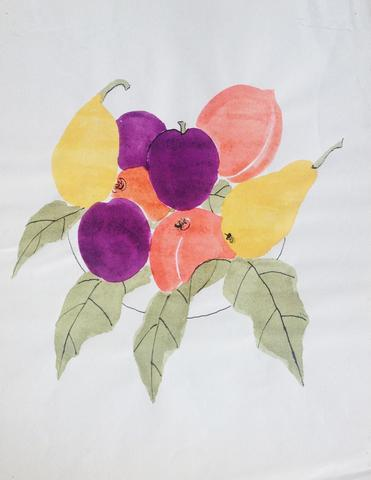 "Untitled, from the ""Fruits"" series (n.d.) Watercolor and ink on paper 11.81h x 9.44w in (30h x 24w cm)"