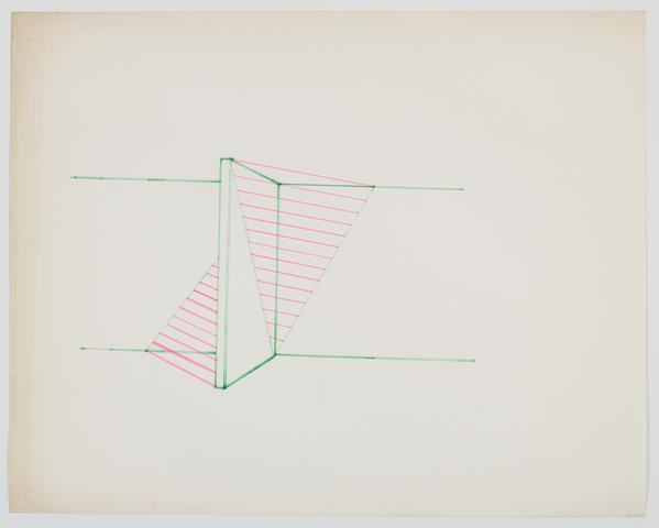Study for Pyramid Up and Down Pyramid (1969-1970) Ink on paper 19.13h x 24w in (48.6h x 61w cm)