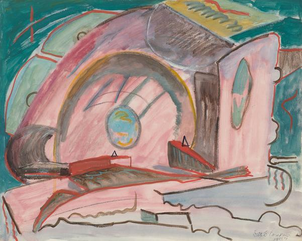 The Circle (1947) Gouache on paper 16h x 20w in (40.6h x 50.8w cm)