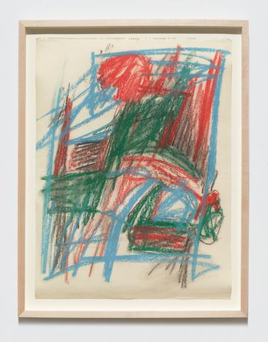 "Study for ""Barrier Series"" (c. 1961) Oilstick on paper 24h x 18w in (61h x 45.7w cm)"