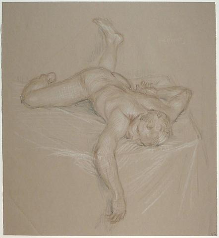 Paul Cadmus, Sleeping Nude Z14 (n.d.) Crayon on paper 16.38h x 15w in (41.61h x 38.1w cm)