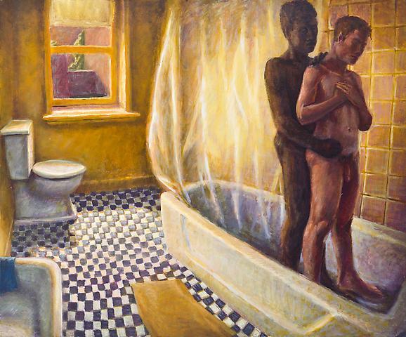 Showers II (1990) Oil on canvas 42.25h x 51w in (107.32h x 129.54w cm)