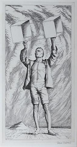 Paul Cadmus, Youth with Kite (1941) Etching 10.38h x 5.38w in (26.37h x 13.67w cm)