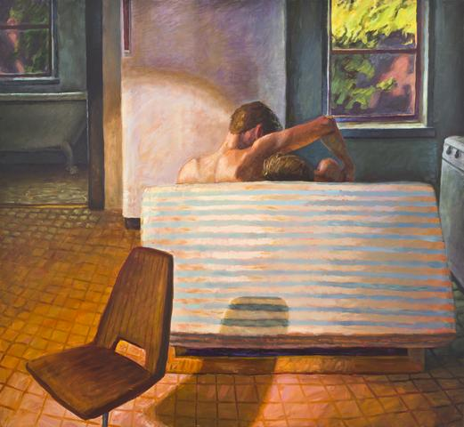 Futon Couch (1991) Oil On Canvas 56h x 60w in (142.2h x 152.4w cm)