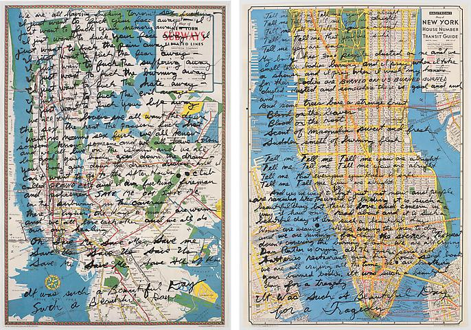 Make Love: September 11  (2008) Ink on paper Diptych; 27.5h x 19.38w in (69.85h x 49.23w cm) (each)