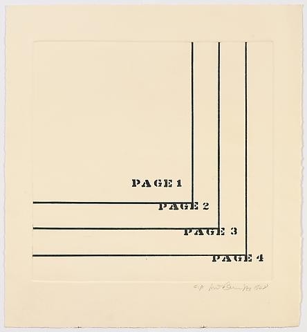 Luis Camnitzer; Four Pages (1968) Etching on paper; 24h x 22w in (60.96h x 55.88w cm) Intended edition of 50, Executed edition of 10 with 2 AP