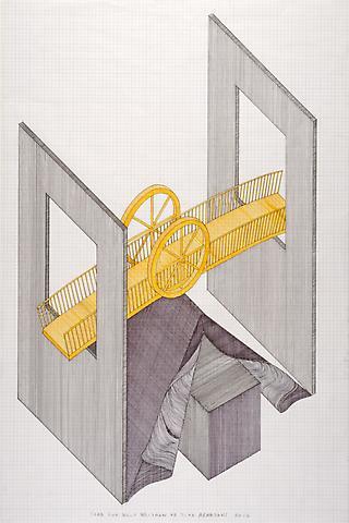 Tomb for Walt Whitman (2012) Felt pen on graph paper 36h x 24w in (91.4h x 61w cm)