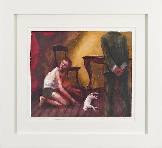Innocent Man with Cleaver and Red Drape (1989) Oil on gessoed paper 10.88h x 13w in (27.64h x 33.02w cm)