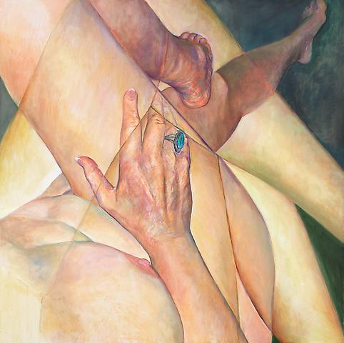 Crossed Legs (2011) Oil on canvas 48h x 48w in (121.92h x 121.92w cm)