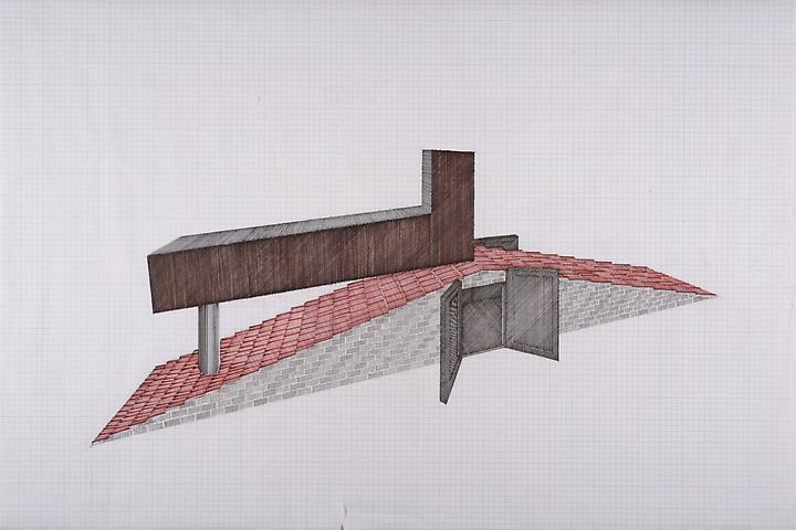 Tomb for Neema (2014) Felt pen on graph paper 24h x 36w in (61h x 91.4w cm)