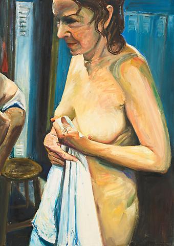 Woman With Towel (1989) Oil on canvas 34h x 24w in (86.36h x 60.96w cm)