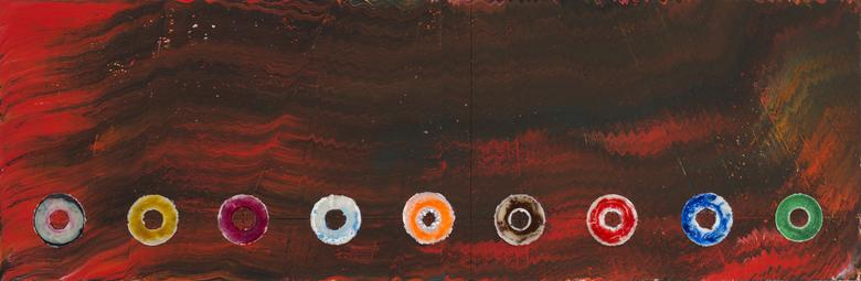 Nine Cosmic CDs: For The Firespitter (Jayne Cortez) (2013) Acrylic on canvas 45h x 137.5w in (114.3h x 349.3w cm)