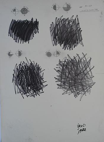 Hassan Sharif One Minute Drawing (1982) Pen on paper; 35.24h x 25.2w in (89.51h x 64.01w cm)