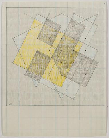 "Study for ""Knight Series #3"" (1975) Graphite and colored pencil on graph paper 11h x 8.5w in (27.9h x 21.6w cm)"