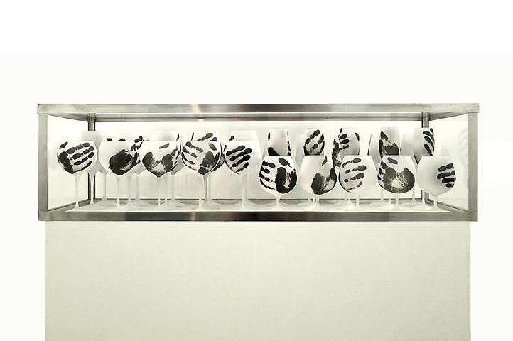 Dreamer 2 (2013); Crystal, acrylic and aluminum in 40 parts 12.2h x 45.28w x 14.567d in (31h x 115w x 37d cm)  Installation view; Bolsa de Arte de Porto Alegre, Brazil, 2013
