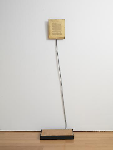 Sifter (The Mechanism for Killing a Spectator) (1978) Brass, flexible metal tube, platform 23.62h x 23.62w x 70.87d in (59.99h x 59.99w x 180.01d cm)