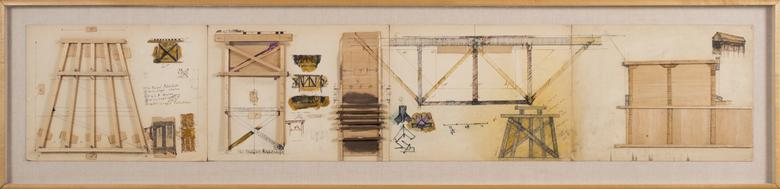 Siah Armajani, Paul Bunyan's Matchsticks (1968) Mixed media 14.75h x 70.75w in (37.5h x 179.7w cm)