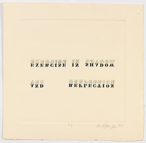 Luis Camnitzer; Exercise in Shadow and Reflection (1968) Etching; 23.25h x 24w in (59.06h x 60.96w cm) Intended edition of 50, executed edition of 10 with 2 APs