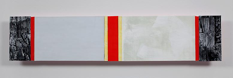 Ribbons of Honor #8 (2009) Acrylic collage on panel 6.75h x 31w in (17.15h x 78.74w cm)