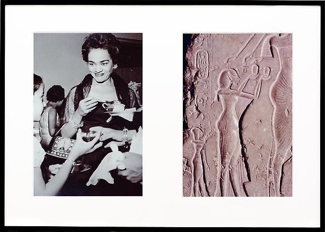 Miscegenated Family Album (Ceremonial Occasions II), L: Devonia attending a wedding; R: Nefertiti performing an Aten ritual  (1980/1994) Cibachrome prints 26h x 37w in (66.04h x 93.98w cm)