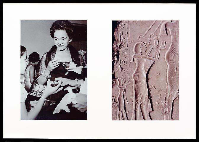 Miscegenated Family Album (Ceremonial Occasions II), L: Devonia attending a wedding; R: Nefertiti performing an Aten ritual  (1980/1994) Cibachrome prints 26h x 37w in (66h x 94w cm)