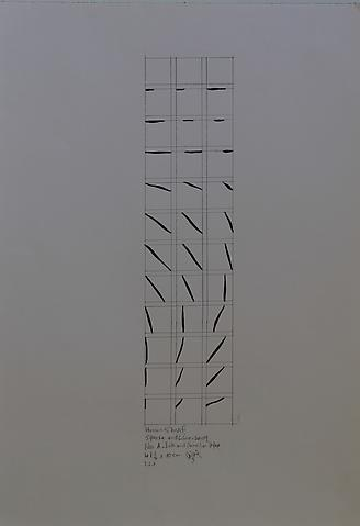 Hassan Sharif; Square and Line A (2009) Ink and pencil on paper 23.43h x 16.54w in (59.51h x 42.01w cm)