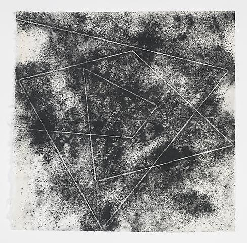 Jack Whitten, Target (In & Out) #7 (2011) Magnetite and acrylic on rice paper 16.88h x 17w in (42.88h x 43.18w cm)