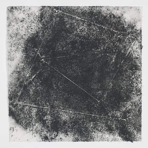 Jack Whitten, Target (In & Out) #14 (2011) Magnetite and acrylic on rice paper 8.5h x 8.5w in (21.59h x 21.59w cm)