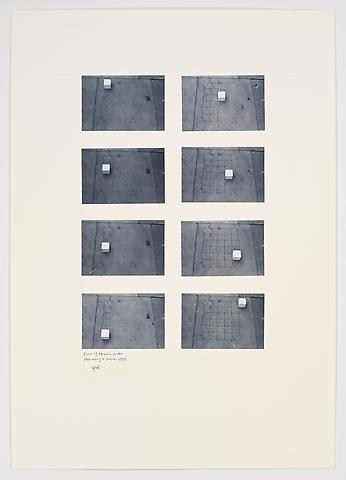 Drawing Squares on the Floor Using a Cube (1982) Photographs on paperboard 33.07h x 23.43w in (84h x 59.51w cm)