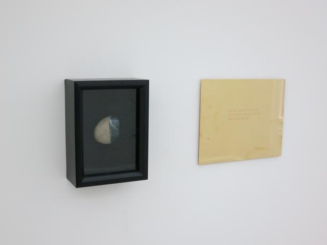 """Define the border that separates thinking from wishful thinking. From the series """"The Assignment Books"""" (2011) Brass plaque with mixed media, dimensions variable"""