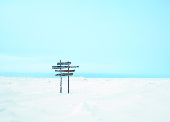 Proposition 3, Sign, Churchill River, Hudson Bay, Manitoba, (temporary sculptural installation) (2007) C-print; Edition of 7 with 1 AP 26h x 36w in (66.04h x 91.44w cm)