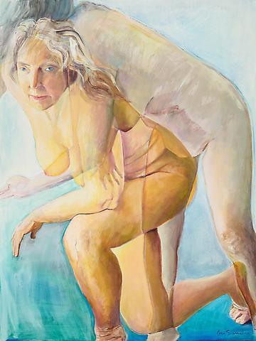 Joan Semmel; Looking Out (2012) Oil on canvas 48h x 36w in (121.92h x 91.44w cm)