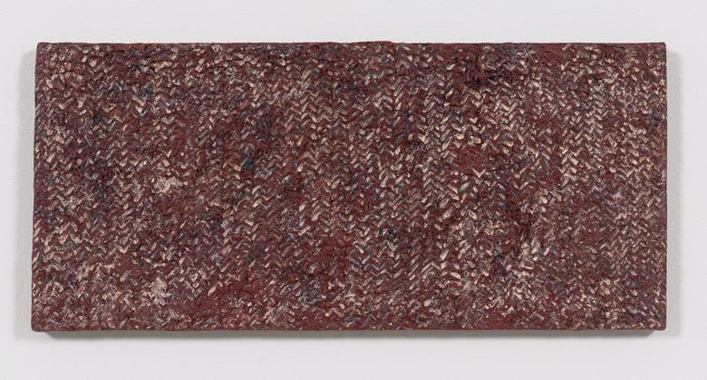 Weave (1975) Oil and Dorland's wax on canvas 11h x 24w in (27.9h x 61w cm)